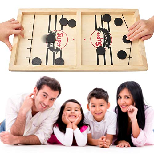 Extra Large Fast Sling Puck Game Fancymay Wooden Hockey Game 22x118 Inch Foosball Winner Board Game ParentChild Interactive Toy Board Table Game for Family Game Night Fun