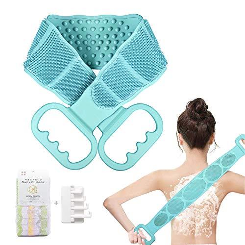 ボディブラシ 背中,シリコンバスブラシ あかすり ボディーブラシ 背中 ブラシ,体洗う 効果的な背中ニキビ取り,角質除去 足 血行促進 ボディタオル 柔らかい ボディスポンジ,グリーン