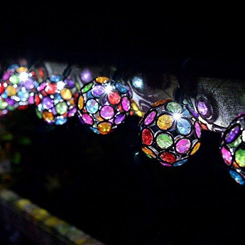Guirlande Lumineuse Solaire 10 Boules Multicolores à LED 1,80 Mètre
