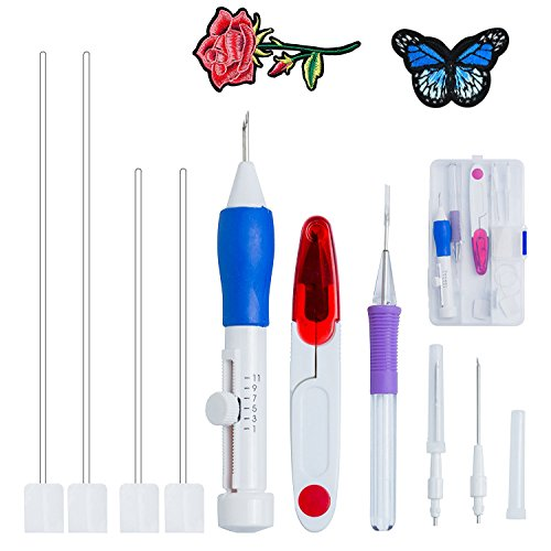 E-lishine Magic Embroidery Pen Punch Needles, Magic Embroidery Pen Set Punch Embroidery Needle for Embroidery Threaders DIY Sewing