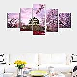 DGGDVP Quadro su Tela Decorazione della casa Immagine Pittura murale Fiore di ciliegio Architettura Antica Giapponese 5 Quadro Dimensione 1 Senza Cornice