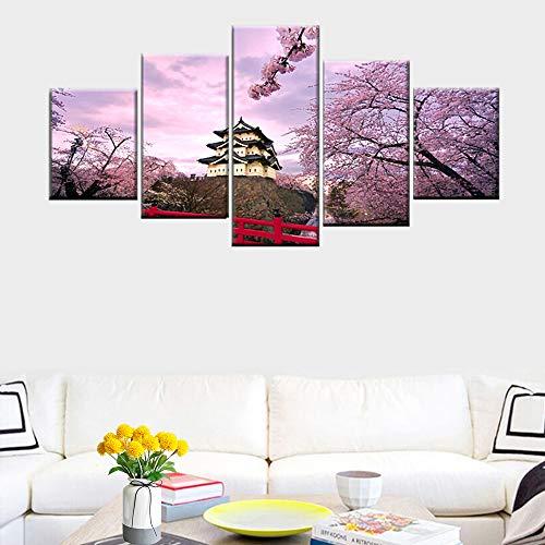 DGGDVP canvas poster huis decoratie afbeelding muurkunst schilderij kersenbloesem Japanse antieke architectuur 5 panelen schilderijen 40x60cmx2 40x80cmx2 40x100cmx1 Met frame.