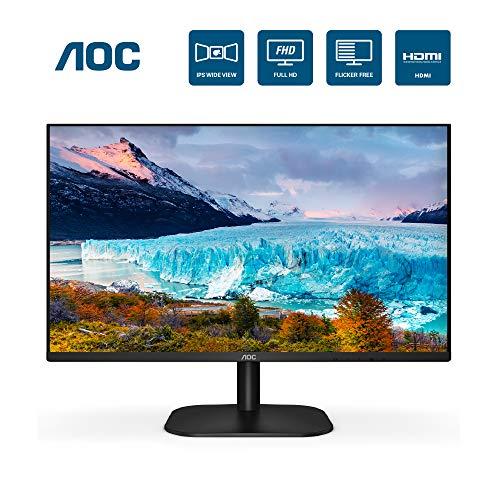 AOC 24B2XH 24' Full HD IPS Monitor, 3-Sided Frameless & Ultra Slim HDMI and VGA inputs, Lowblue Mode, VESA compatible,Black
