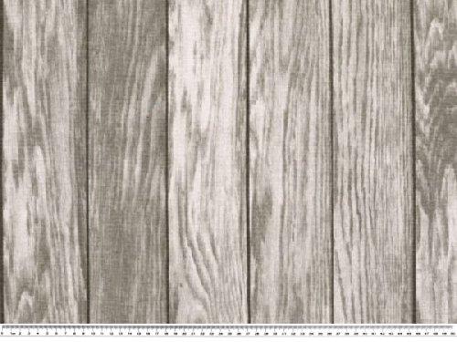 Zanderino ab 1m: Interessanter Dekostoff, Holzmuster, grau, 140cm breit