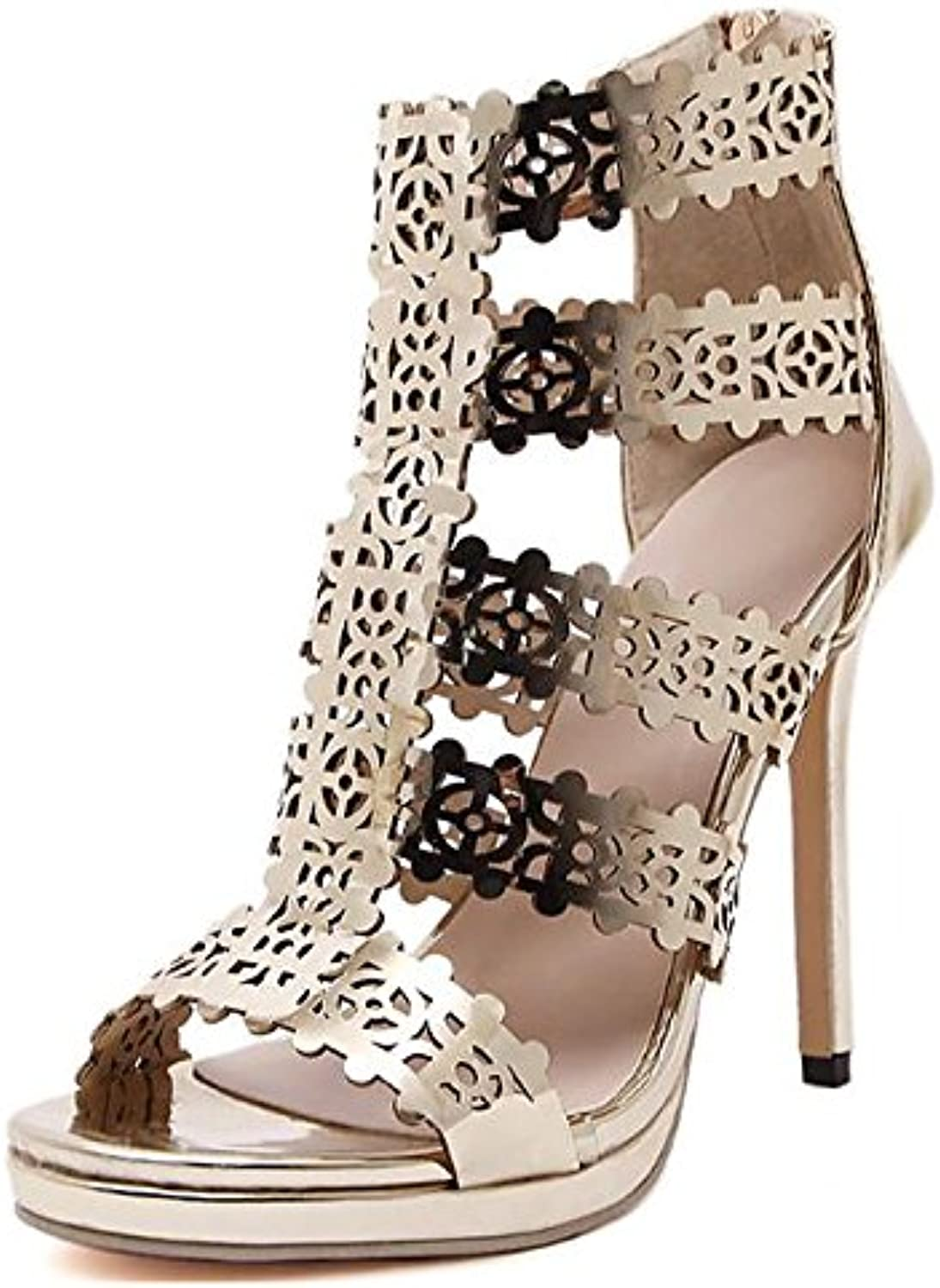 Women's shoes PU Spring Summer Basic Pump Comfort Sandals Stiletto Heel for Casual gold
