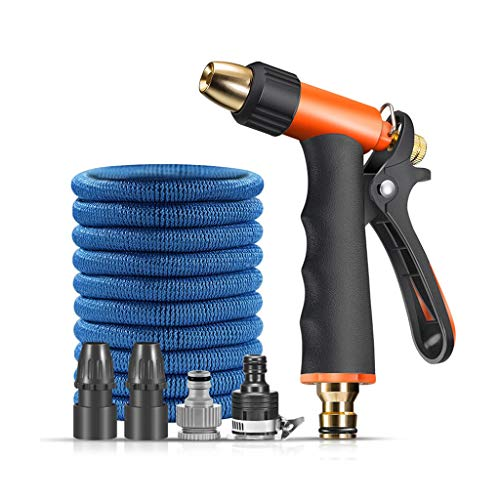 LONG Extensible Tuyau d'arrosage avec 3 modèles Buse de pulvérisation, Bleu Flexible Tuyau d'eau extérieur Expansion Tuyau d'arrosage for l'arrosage/Lavage (Taille : 22m)