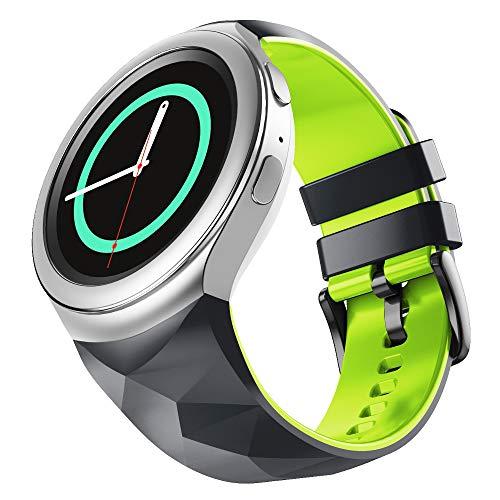 NotoCity Compatible con Samsung Gear S2 Pulsera de Silicona Correa de Reloj de Repuesto Deportivo para Samsung Gear S2 Smartwatch SM-R720 SM-R730(Verde Negro,S)