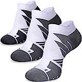Ankle Running Socks for Women & Men, Anti-Blister Wicking Athletic Socks, Coolmax Padded, Seamless Anti-odor (3 Pairs White, Large)