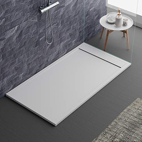 Piatto doccia bianco, in mineralmarmo, con effetto pietra ardesia, serie Lisboa, slim 3 cm, rivestito di Gelcoat, antiscivolo