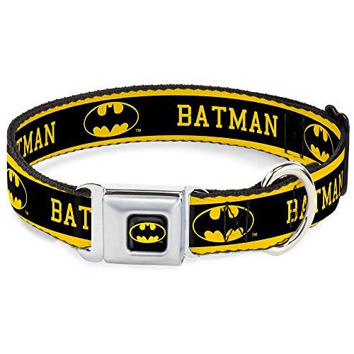 "Buckle-Down Seatbelt Buckle Dog Collar - BATMAN/Logo Stripe Yellow/Black - 1"" Wide - Fits 9-15"" Neck - Small"