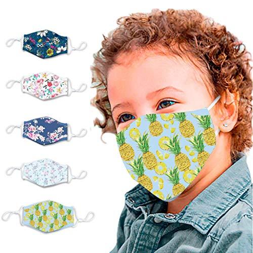 5 Stück Kinder Mundschutz mit Ohrschlaufen Halstücher Gedruckt Bandanas Schlauchschal Multifunktionstuch Gesichtstuch Wiederverwendbar Sport-Halstuch (A)