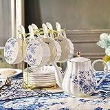 Juego de 6 tazas de cerámica de espresso de cerámica Juego de taza y plato de café de corte inglés Juego de té combinado de cafetera 200cc