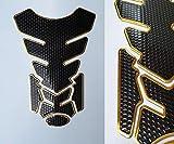 Protection de réservoir de moto aspect carbone noir doré universel
