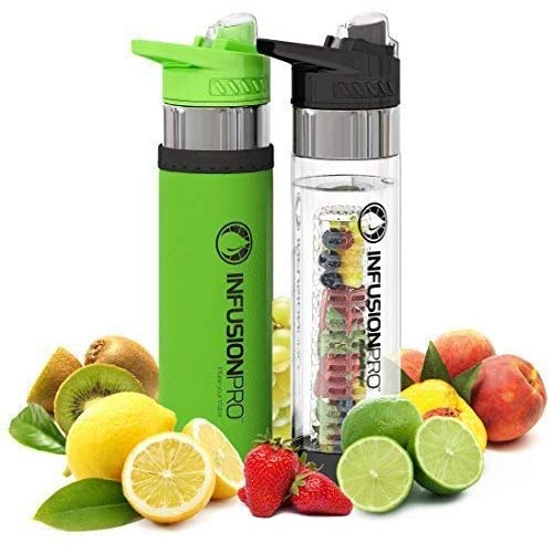 b8a9025b73 Infusion Pro Premium Fruit Infused Water Bottle (2 Pack or 1 Pack)  Insulating Sleeves