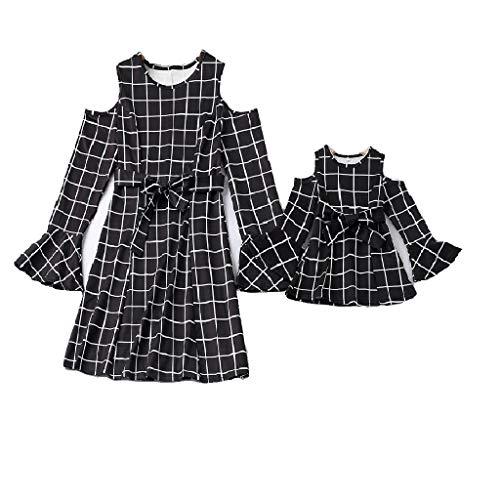 DAY8 Vestiti Mamma e Figlia Uguali Abbigliamento Abiti Vestiti Uguali Mamma Bambina Vestito Mamma Figlia Uguali Abiti Famiglia Coordinati Mamma Moda Bambina Manica Lunga a Griglia (Nero, S)