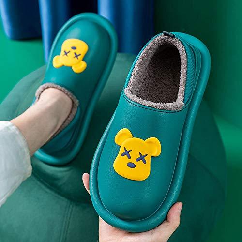 Slipper Ultraligero cómodo y Antideslizante,Bolso de tacón más pantuflas de terciopelo, zapatos de algodón cálido antideslizantes-verde oscuro _37-38,calzado sin cordones para interiores y exteriores