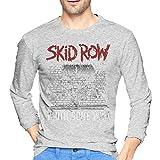 Skid Row メンズ Tシャツ 長袖 クルーネック シャツ 吸汗速乾 無地 カジュアル スポーツ トップス ゆったり 薄手 4色 大きいサイズ