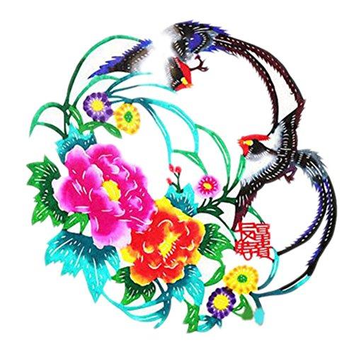 Black Temptation 4PCS Chinese Traditional Art Paper Cut Décor Collection colorée Souvenir-A09