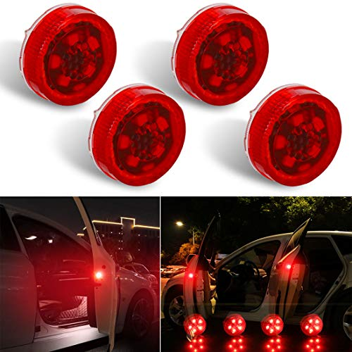Botepon 4PCS Universal Wireless Car Door LED Warning Lights, Safety Lights, Strobe Lights for Anti rear-end Collision (Red)