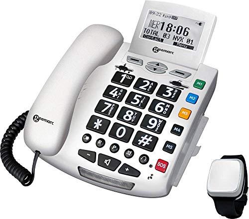 Geemarc Pack SERENTIES Schnurgebundenes Seniorentelefon Fallband-Sensor Beleuchtetes Display Weiß