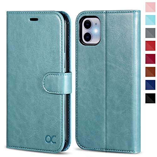 OCASE iPhone 11 Hülle Handyhülle [Premium Leder] [Standfunktion] [Kartenfach] [Magnetverschluss] Tasche Flip Hülle Cover Etui Schutzhülle lederhülle flip case für iPhone 11 (Minzgrün)