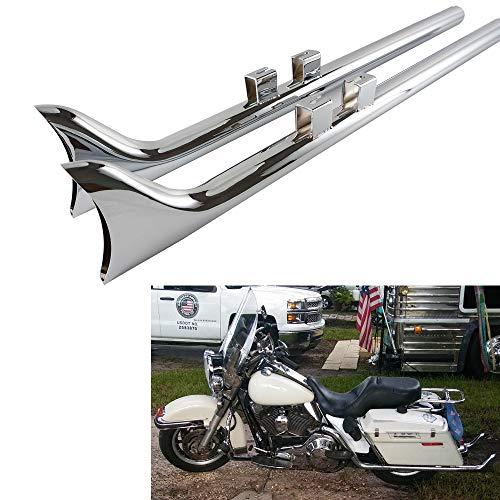 "DRACULEXTREME Chrome 36"" Classic Fishtail Drag Pipe Slip On Mufflers Exhaust For 1995-2016 Stock Harley Touring Bagger Dresser……"