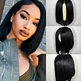 ISEE Hair 13x4 Lace Front Wigs Brazilian Virgin Human Hair Wigs Short Straight Bob Wigs 150% Density Pre Plucked with Baby Hair Bleached Knots Silk Straight Hair For Black Women 14 Inch