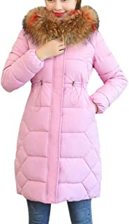 Andouy Coat Women Winter Long Solid Color Artificial Woolen Cardigan Overcoat Parka Outwear