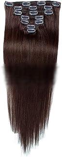 Vergeania ヘアエクステンション人毛18インチダークブラウン#2色7個70gダブル横糸ストレートフルヘッド用女性ファッションかつらロングストレートヘアウィッグ (色 : #2 dark brown)