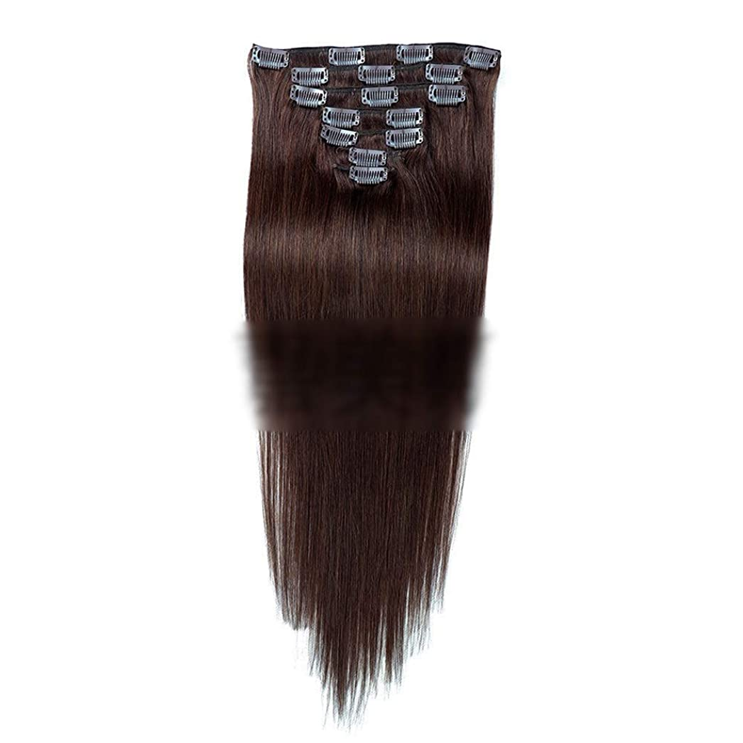 麺科学日常的にHOHYLLYA ヘアエクステンション人毛18インチダークブラウン#2色7個70gダブル横糸ストレートフルヘッド用女性ファッションかつらロングストレートヘアウィッグ (色 : #2 dark brown)