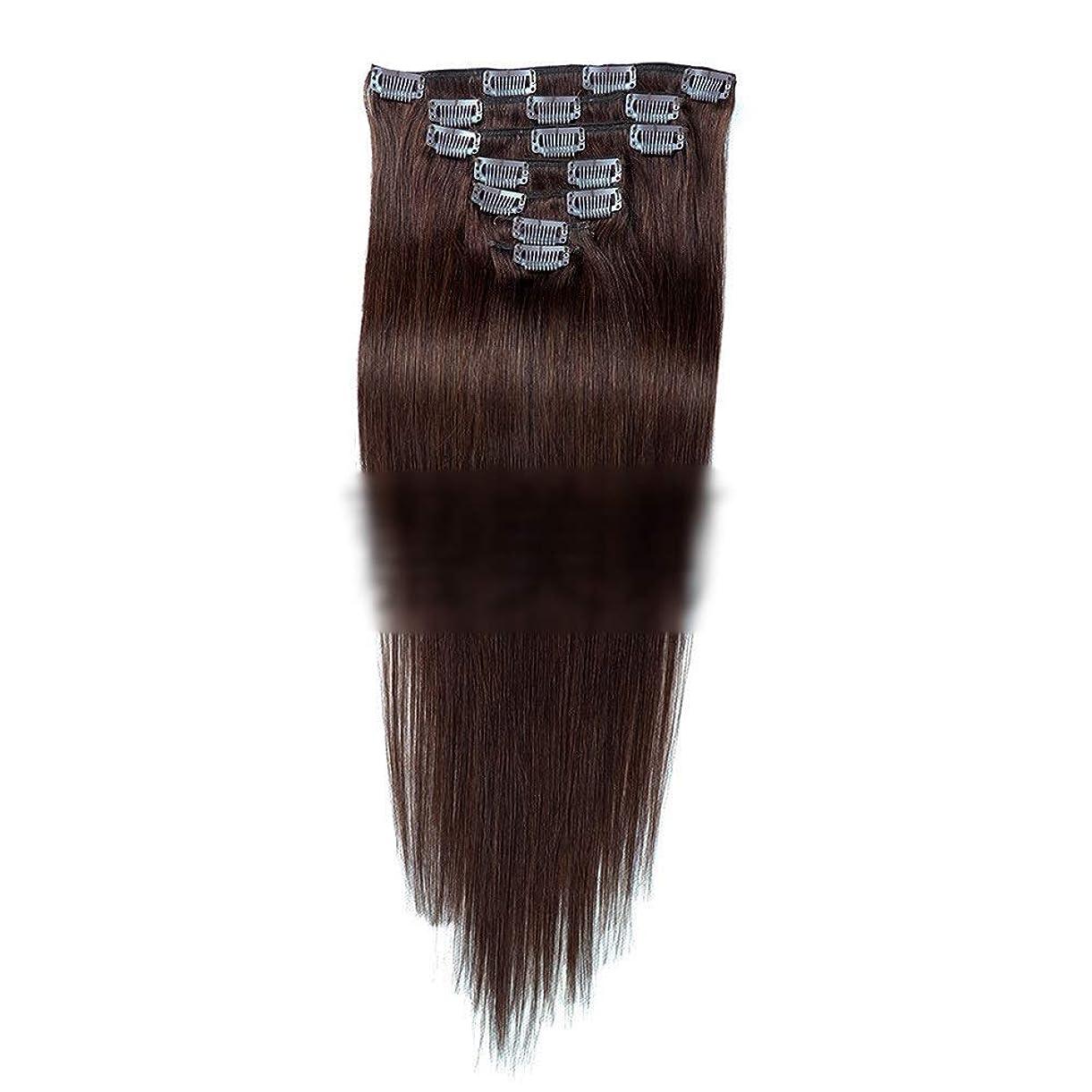 量ショップ複製するHOHYLLYA ヘアエクステンション人毛18インチダークブラウン#2色7個70gダブル横糸ストレートフルヘッド用女性ファッションかつらロングストレートヘアウィッグ (色 : #2 dark brown)