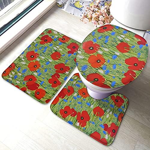 JUQIAO Juego de alfombrillas de baño de 3 piezas de espuma viscoelástica con diseño de amapolas, funda antideslizante para asiento de inodoro