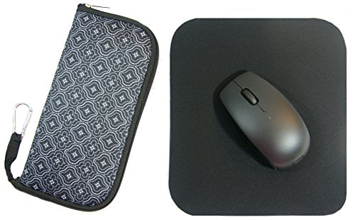 Travel Mouse Case Electronics Organizer Convertible Bag | Laptop Cord Cable Accessory Pouch with Extra Rolled Up Travel Mouse Pad | Pouch Unzips Flat Into Mouse Pad (Moroccan Lace)