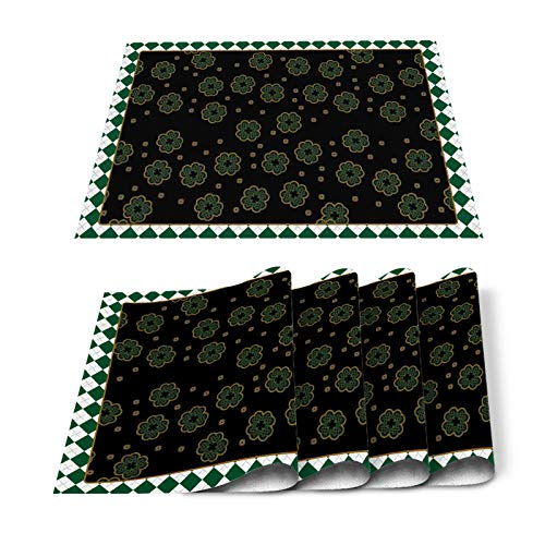 Yun Nist 6 PCS Dining Table Placemats St. Patrick's Day Celtic Knots Clover Leaf, Washable Heat-Resistant Place Mats for Kitchen Restaurant Party Tables Decor, Blackish Green White