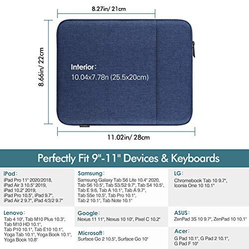 MoKo Funda Protectora Compatible con iPad Pro 11, iPad 8th 7th Gen 10.2, iPad Air 4 10.9, iPad 9.7, Galaxy Tab A 10.1, Bolsa Multifuncional de Algodón y Lino con Cremallera Doble Tableta, Azul Marino