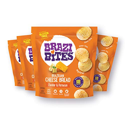 Brazi Bites Gluten-Free Brazilian Cheese Bread: Cheddar & Parmesan | Vegetarian Frozen Bread Snacks | Soy-Free | No Artificial Ingredients | No Preservatives | 11.5 oz. pouches (4-pack)