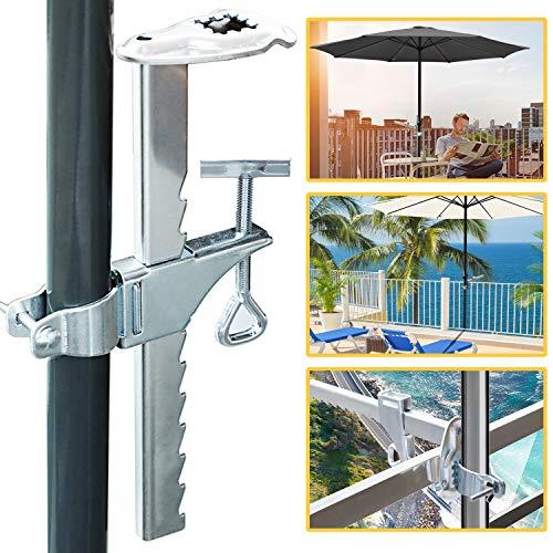 Hengda Sonnenschirmhalter Balkongeländer Sonnenschirmhalterung aus Stahl verzinkt-Balkon Schirmhalter 32mm / 25mm-Balkonschirmhalter-Sonnenschirm Stabil Balkonklammer für kleine Balkone