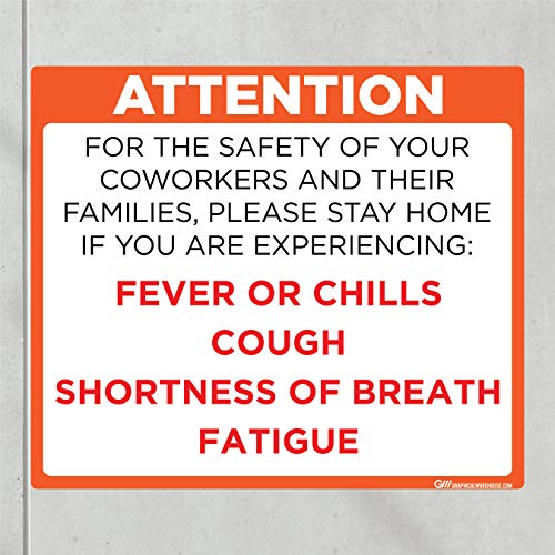 'Do Not Enter Office with Symptoms' COVID-19 (CORONAVIRUS) Adhesive Durable Vinyl Decal- (Various Sizes Available) Sign by Graphical Warehouse- Safety and Security Signage (11.25x9.65', Orange)