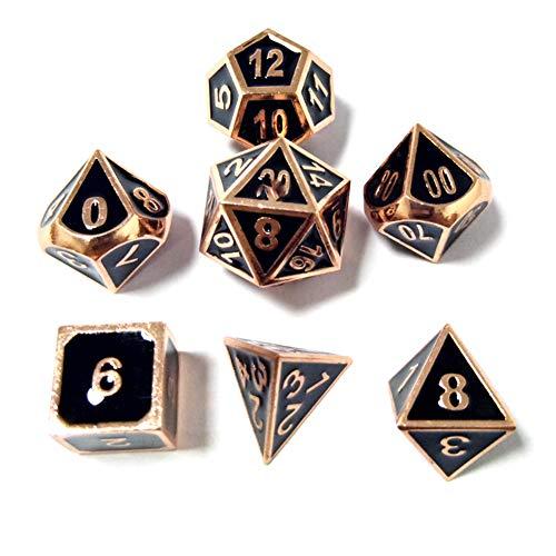 Sunnay 7 Stück Metall Würfel DND Polyhedral Solid Metall D&D Würfel Nickel Set mit Zahlen,Einsteigerset A2 Stil
