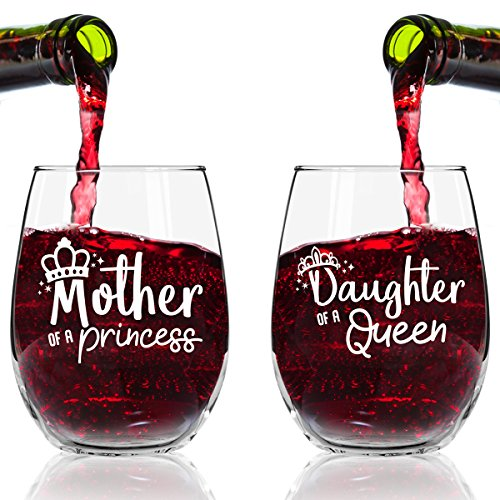 Mother of A Princess Daughter of A Queen Stemless Wine...