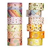 Washi Tape,12 Rollos Cinta Decorativa Adhesiva, Washi Tape Set, Washi Tapes Vintage, Cinta Adhesiva Decorativa Manualidades, para Manualidades, Envoltura de Regalo