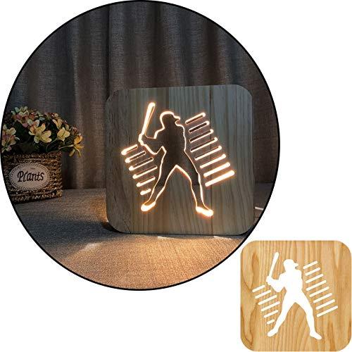 Pose de baseball 3D Pose en bois sculpté de la lampe de table de lumière blanche sculptée, lampe de chevet 2.5W, lampe de pépinière, décoration de la maison ou cadeaux pour enfants et adultes, salon d