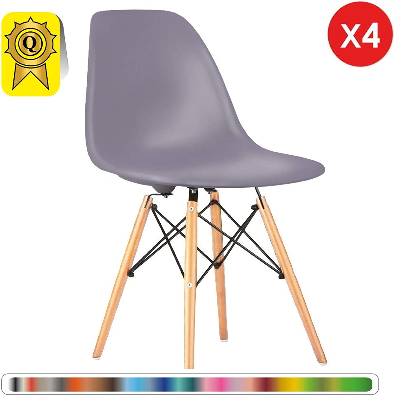 Decopresto 4 x Designer-Stuhl Beine Naturholz Stitz Lilac grau DP-DSWL48-LI-4