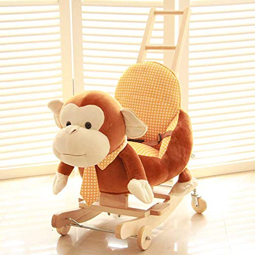 Why Choose Kibten Baby Rocking Horse Brown High Back Monkey Rocking Animal Toy Kids Cartoon Plush An...