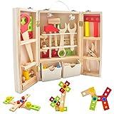CS COSDDI Spielwerkzeug Holz Holzbausteine Spielzeug Zubehöre Werkzeugkoffer Werkzeugkasten Für Kinder