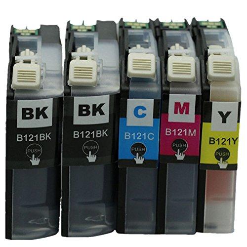 No-name LC121BK LC121 LC121XL LC-121BK LC-121 LC-121XL LC 121BK Cartuchos de tinta para Brother MFC-J650DW MFC-J870DW MFC-J245 DCPJ552DW DCPJ752DW DCPJ132W (2 negros, 1 cian, 1 magenta y 1 amarillo)