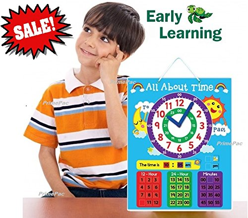 Time Telling Wall Clock Learning System. Educational Toys for Preschool & Toddlers. School Clock with Metric System. Preschool Learning, Early Learning, First Time Kids Clock. Magnetic Shape Sorting
