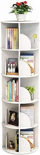 Bookshelf Book Racks Rotating 360 Degree Bookcase Table Floor Student Multi Layer Rack Bookends Book Racks Color White Size 40159cm
