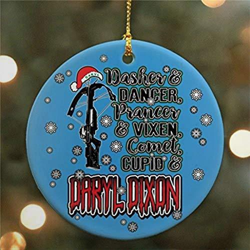 BYRON HOYLE Dasher Dancer Prancer Vixen Comet Cupid Daryl Dixon Blue The Walking Parody Ceramic Ornament Christmas Ornaments Pandemic Xmas Decor Holiday Present