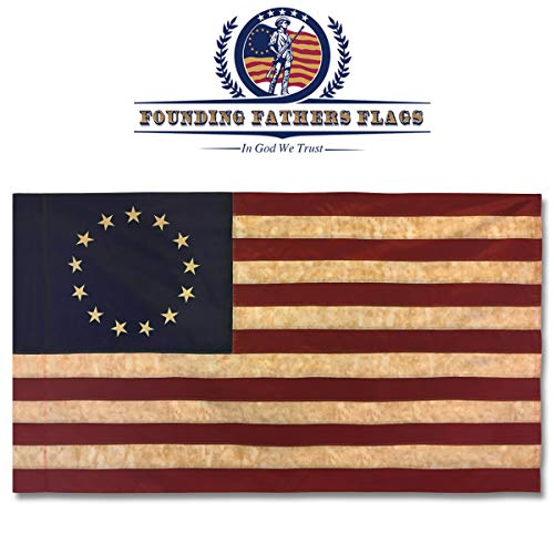 Founding Fathers Flags Betsy Ross Vintage Embroidered Home Banner - 3x5' Oxford Polyester Banner w/Sleeve